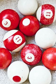 red, white, circles and numbers...