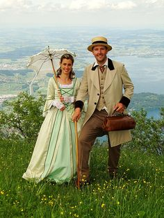 old fashioned clothing with the scenery of mount rigi.