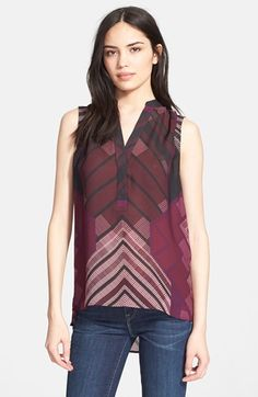 Free shipping and returns on Vince Sleeveless Print Top at Nordstrom.com. Chevron stripes lead the eye up a billowy silk top to a gently shirred neckline for a face-framing style with plenty of graphic interest.