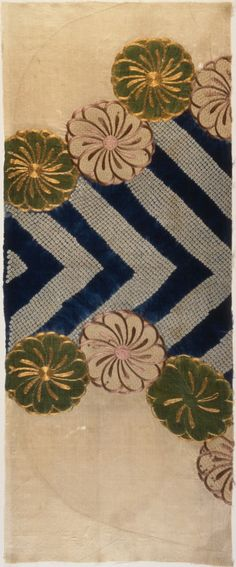 Fragment of a Kimono (Kosode) with Design of Chrysanthemums and Chevron Pattern Japan, Edo period, late 17th c. Collection of LA County Museum of Art (LACMA)