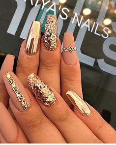 23 Gold Nail Designs For Your Next Trip to The Salon Matte and Gold Coffin Nails Gold Coffin Nails, Cute Acrylic Nails, Glitter Nail Art, Cute Nails, Nails With Gold, Sparkle Acrylic Nails, Acrylic Nail Designs Glitter, Silver Glitter Nails, Glitter Vinyl