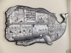 Large Whale Men Submarine Cutaway Screen print Illustration