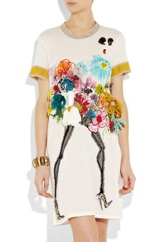 Lanvin: appliqued floral-print t-shirt dress Love Fashion, Kids Fashion, Womens Fashion, Designer Graphic Tees, Shirt Dress, T Shirt, Sweatshirt, Lanvin, Girl Outfits
