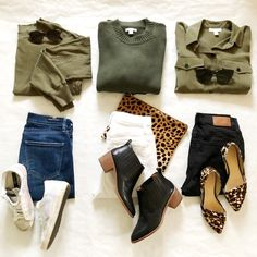 Outfit or I've got a NEW neutral in my arsenal. I'm obsessed with army green lately and it's so easy and fun to mix and match… Mode Outfits, Fashion Outfits, Womens Fashion, Fall Winter Outfits, Autumn Winter Fashion, Classy Outfits, Casual Outfits, Look Fashion, Minimalist Fashion