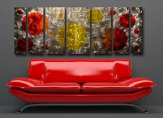 "Modern Abstract Metal Painting Wall Art Sculpture - Contemporary Décor 68"""