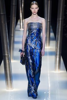 Georgio Armani SS15 Couture - stunning blue gown with embellishments and leaf detail...x