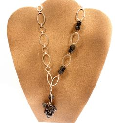 Garnet Healing Stone Asymmetrical Necklace Silver Metal Chain. Adjustable Length