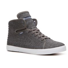 Vans Hadley Mid Sneaker - Grey Textile Print ❤ liked on Polyvore