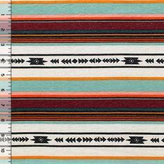 Retro Navajo Triangle Stripes Cotton Jersey Blend Knit Fabric