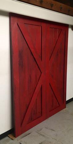 Red Sliding Barn Door sliding barn doors - traditional - interior doors - dallas - green
