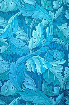 Acanthus by William Morris. King & McGaw has an extensive collection of art prints by established and emerging artists, which are all framed by hand in the UK. William Morris Wallpaper, William Morris Art, Morris Wallpapers, William Morris Patterns, Art Deco Wallpaper, Designer Wallpaper, Pattern Wallpaper, Teal Wallpaper, Trendy Wallpaper