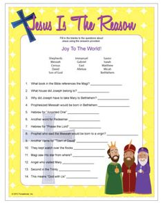 Christian Christmas game - trivia about Jesus and his birth, printable game.