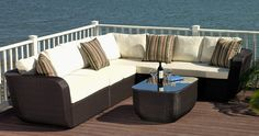 The Malta Outdoor Sectional redefines outdoor lounge furniture. This large outdoor sectional sofa set features deep seating, with an incredibly well-crafted design. This is an L-shape sofa set sectional, measuring 11ft. x 9ft. The armless piece is also moveable from the left side to the right, making it 7ft x 12ft. Special Price: $2,245.00