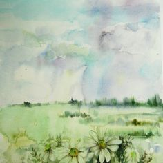 Original Watercolor Painting Abstract Landscape with by CanotStop