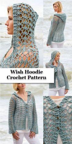 18382e2eed Hoodie Crochet Pattern Crochet Hoodie, Modern Crochet, Crochet Ideas, Crochet  Patterns, Lace