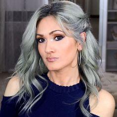 Makeup For Brown Eyes Silver Grey Ideas For 2019 Blue Makeup, Makeup For Brown Eyes, Hair Makeup, Makeup Tips Eyeshadow, Smoky Eye Makeup, Makeup Hacks, Orange Eyeshadow, Blue Eyeliner, Hair Color Balayage