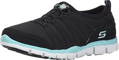 Skechers Sport Womens Gratis Fashion Sneaker 95 BM BlackAqua >>> To view further for this item, visit the image link.