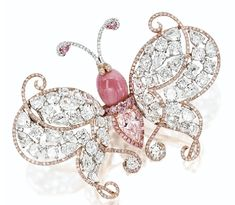 Butterfly Brooch with Conch Pearl and Diamonds