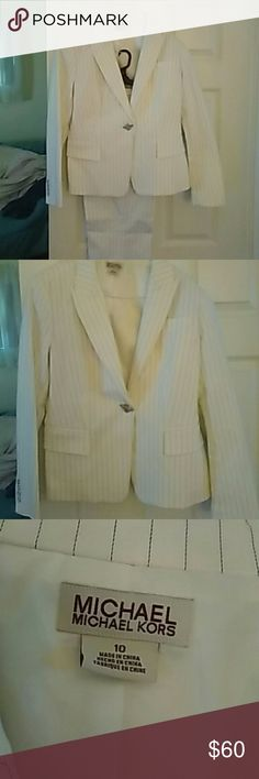 Michael Kors White Pinstripe Pant Suit Like New MK suit, jacket and pants, sz 10.  Really gorgeous! MICHAEL Michael Kors Jackets & Coats Blazers