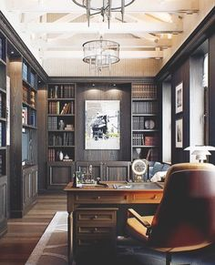Contemporary Home Office Design Ideas - Surf images of contemporary home offices. Discover ideas for your trendy home office design with ideas for design, storage as well as furnishings. Simple House, House, Interior, Home Libraries, Reading Room Design, Masculine Home Offices, Masculine Office Decor, Luxury Office, Office Design