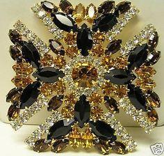 Eisenberg Signed Glitzy Maltese Cross Brooch - Swarovski Rhinestones 64147
