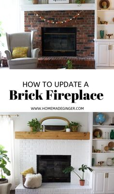 How To Update A Brick Fireplace - Homemade Ginger