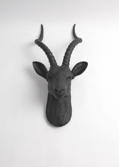 Black Antelope Head Wall Mount - The Franny in Black by White Faux Taxidermy - Faux Gazelle Head Hanging Art - Chic Faux Safari Animal Head