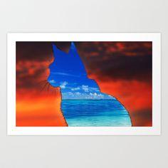 sweet feline sunset Art Print by Shanna Dunn - $16.64