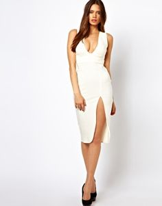 Sexy Mane. Vesper Midi Dress with Plunge Neck Line and Thigh Split $62