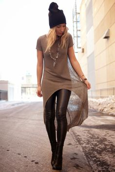 Hi Lo Tees / Aritzia Dara Leggings, Le Chateau boots, M for Mendocino tee, Free People Necklace