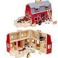 Maison ferme en bois à transporter avec 7 animaux inclus Enfant 3 ans +