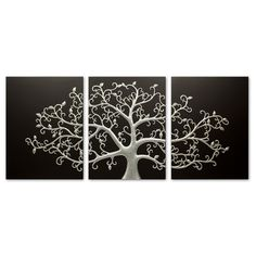 3D Wall Art | Life Tree Black/Silver | Set of 3 | Best of Inuni @ The Home
