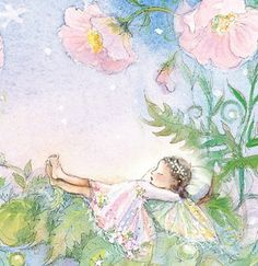 """I like the name of this almost as much as the picture: """"Two fairies in a periwinkle garden with pink mallow flowers.""""  For etsy"""
