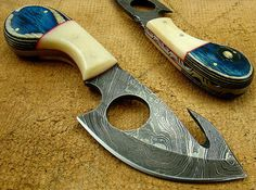 Knives & Daggers - Handmade Damascus Steel Skinning Knife With Gut Hook for sale in Belfast (ID:223414406)