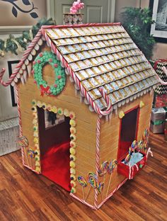 Back view of gingerbread house made from appliance box for Hansel and gretel house plans
