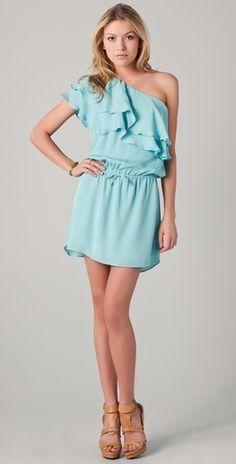 Haute Hippie One Shoulder Ruffle Dress in Honeydew $395