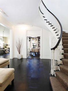 Love the dark floors with the white walls