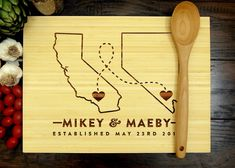 Items similar to Custom Map Gift, Wooden Serving Tray, Bamboo Cutting Board, Chopping Block, Foodie Gift on Etsy Engraved Cutting Board, Personalized Cutting Board, Bamboo Cutting Board, Cutting Boards, Heart Location, Year Anniversary Gifts, Anniversary Ideas, Wedding Anniversary, Wooden Serving Trays