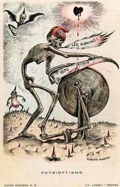 A. Martini, 'Patriottismo', prentbriefkaart (Italië, 1915). De dood getooid met een Franse muts slijpt zijn zeis. Op de zeis de jaartallen 1870 en 1914. In 1870 begon de Frans-Duitse oorlog waarbij Frankrijk Elzas-Lotharingen verloor. Een 'Alboche' is een Duitser.