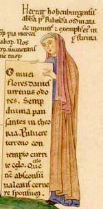 Herrada de Landsberg fue una monja alsaciana del siglo XII y abadesa de la abadía de Hohenburg .Es conocida  por ser la autora de la enciclopedia pictórica Hortus deliciarum.Su obra, como es de esperar en el marco de la actividad literaria del siglo XII,  muestra una escritura muy elaborada.Muchas de ellas son representaciones simbólicas de temas teológicos, filosóficos y literarios.
