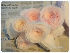 -Coffee Filter Flowers *Roses. SALVAGED WHIMSY: Tutorial: Rolled Paper Flowers