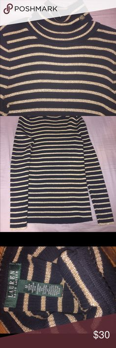 Black and gold turtleneck long sleeve shirt Black and gold turtleneck long sleeve shirt, perfect condition, worn twice, perfect for the winter !! Lauren Ralph Lauren Tops Sweatshirts & Hoodies