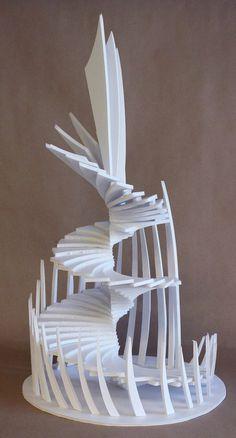 Student Artwork, Clara Lieu, Design Foundations, RISD Pre-College, Staircase Sculptures, foam board, 2017