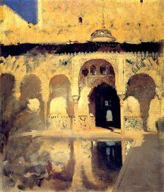 John Singer Sargent. Alhambra, Patio de los Arrayanes, 1879. Oil on Canvas. 22.6 x 19.2 in (57.5 x 48.8cm)