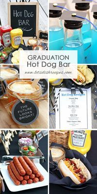 Mini Mason Jar Pies Graduation Party Hot Dog Bar: Fun and easy ideas for a graduation hot dog bar party, including individual pies served in mini Mason jars and graduation cap topped soda bottle. Outdoor Graduation Parties, Graduation Party Planning, Graduation Party Themes, College Graduation Parties, Graduation Celebration, Graduation Ideas, Kindergarten Graduation, Grad Parties, Teacher Graduation Party