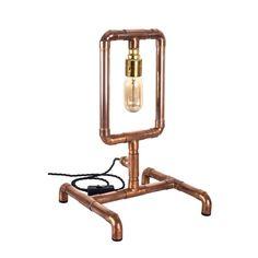 Pipe Lighting, Copper Lighting, Rustic Lighting, Industrial Lighting, Lampe Tube, Best Desk Lamp, Copper Lamps, Copper Pipes, Desk Light