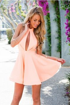 Flared Peach Dress with Open Neckline Detail | USTrendy