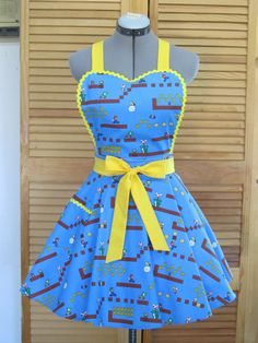 Super Mario Brothers and Friends Apron Back to by AquamarCouture