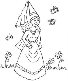 Ausmalbild Prinzessin: Kostenlose Malvorlage: Prinzessin und Schmetterlinge kostenlos ausdrucken Saint George And The Dragon, Knight Party, Dragon King, Rainy Day Activities, Daycare Crafts, Medieval Times, Medieval Fantasy, Coloring Pages For Kids, Pencil Drawings