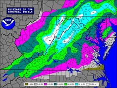Snowfall Map of Blizzard of 1996 - Yup! I remember the 2 feet of snow in Powhatan during this.